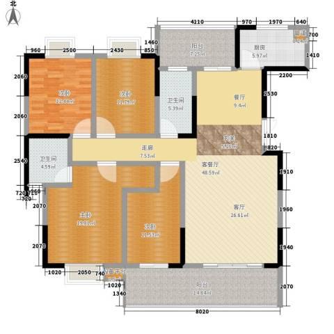 鑫远湘府华城4室1厅2卫1厨163.00㎡户型图
