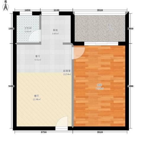 恒盛世家1室0厅1卫0厨56.00㎡户型图