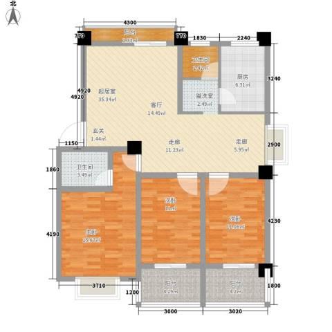 金信阳光在线3室0厅2卫1厨111.54㎡户型图