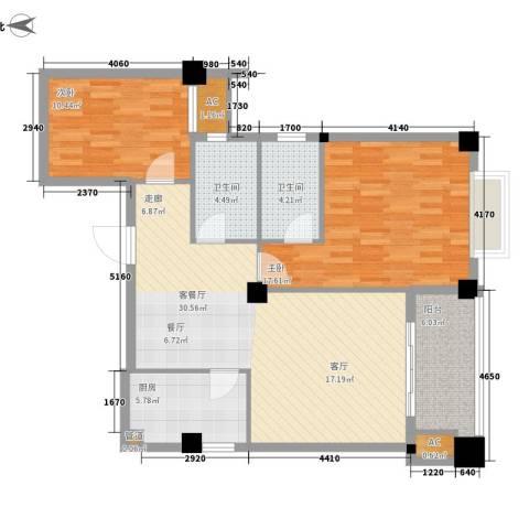 山水城市风景2室1厅2卫1厨91.00㎡户型图