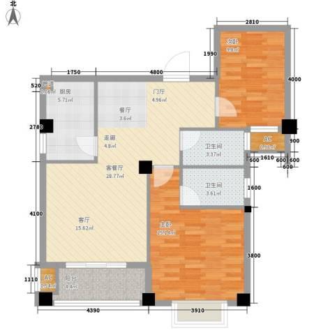 山水城市风景2室1厅2卫1厨103.00㎡户型图