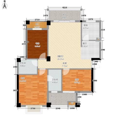 山水城市风景3室1厅2卫1厨128.00㎡户型图