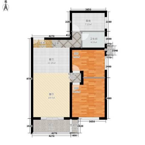 星雨心苑2室1厅1卫1厨91.00㎡户型图