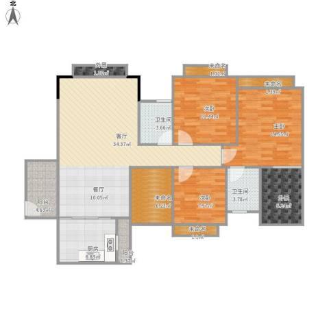 世纪城国际公馆香榭里3室1厅2卫1厨145.00㎡户型图