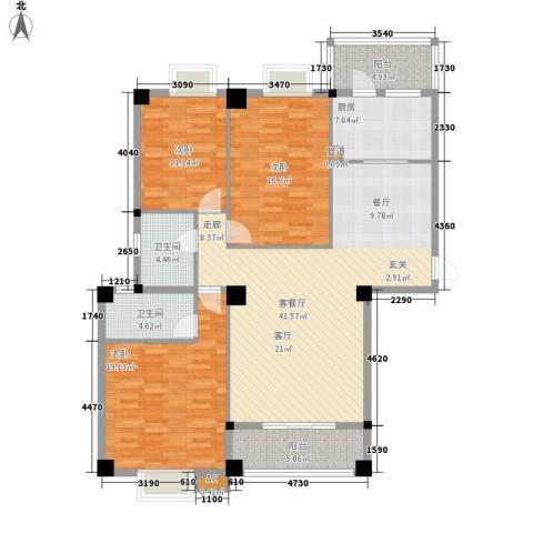 山水城市风景3室1厅2卫1厨134.00㎡户型图