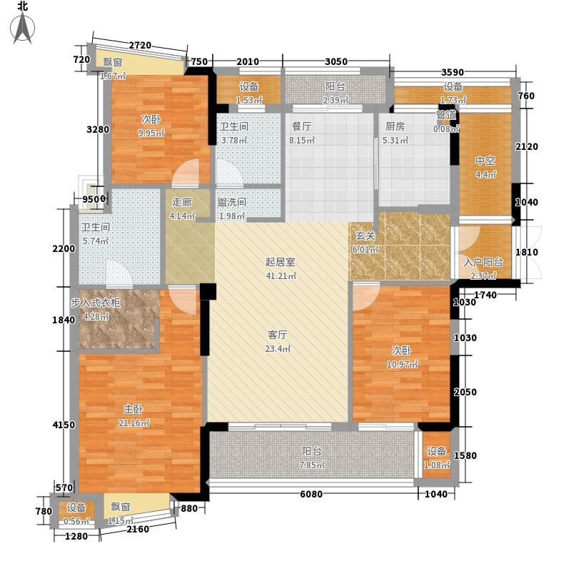 三盛国际公园145.44㎡1#楼03、04单元3室户型