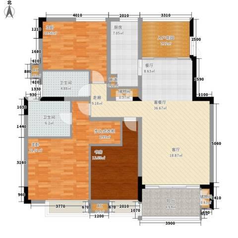 山水城市风景3室1厅2卫1厨117.83㎡户型图