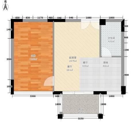 长房西郡1室0厅1卫0厨60.00㎡户型图