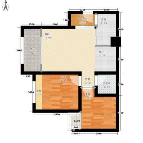 星蓝湾2室1厅1卫1厨69.00㎡户型图