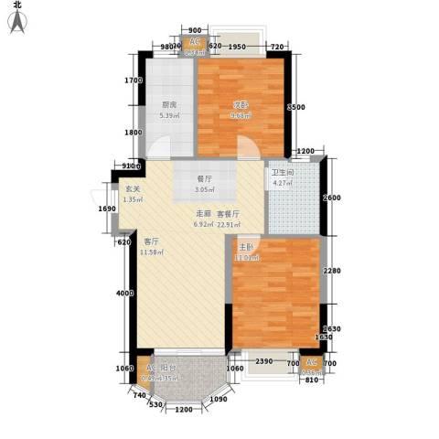 星蓝湾2室1厅1卫1厨82.00㎡户型图