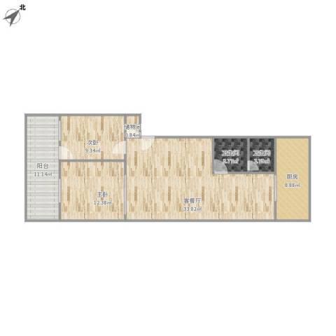 刘长山公安局宿舍2室1厅2卫1厨110.00㎡户型图