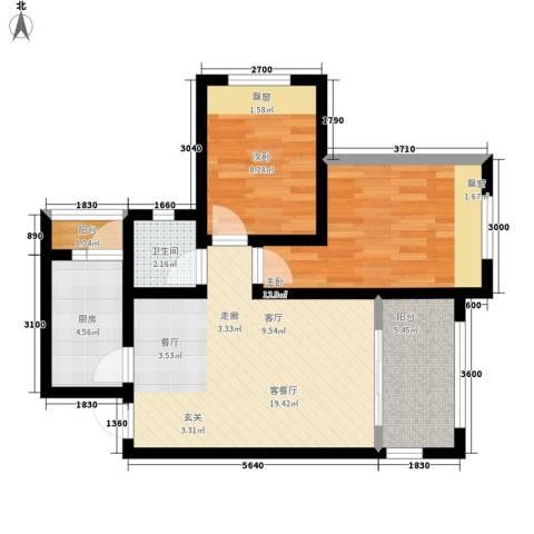 星蓝湾2室1厅1卫1厨77.00㎡户型图