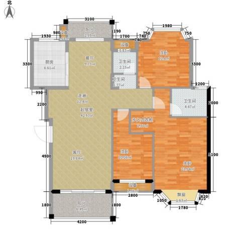 蔚蓝天空3室0厅2卫1厨160.00㎡户型图