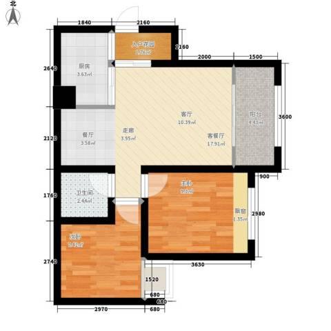 星蓝湾2室1厅1卫1厨70.00㎡户型图