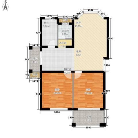 长房西郡2室0厅1卫1厨90.00㎡户型图