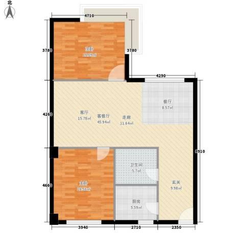 天泽大厦2室1厅1卫1厨98.00㎡户型图