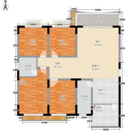 天泽大厦4室1厅2卫1厨166.00㎡户型图