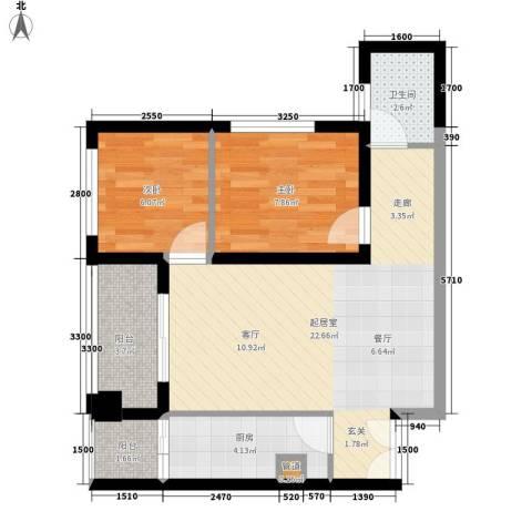 亚商国际2室0厅1卫1厨70.00㎡户型图