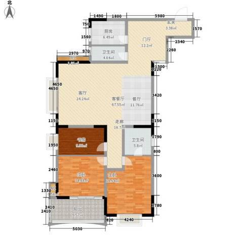 天泽大厦3室1厅2卫1厨155.00㎡户型图