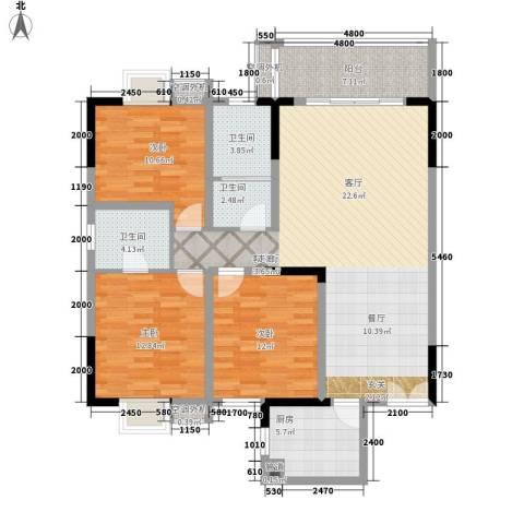 星雨心苑3室1厅3卫1厨142.00㎡户型图