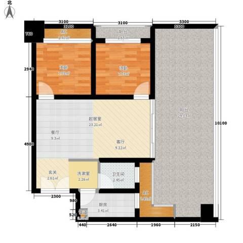 亚商国际2室0厅1卫1厨79.11㎡户型图