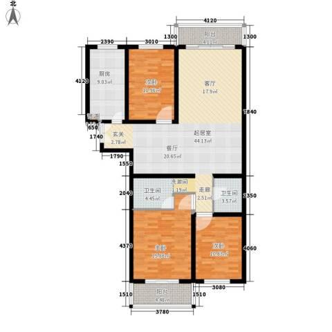 白沙家园3室0厅2卫1厨124.00㎡户型图