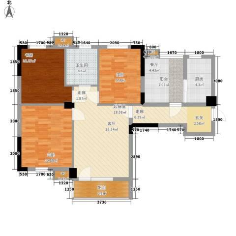 万科魅力之城3室0厅1卫1厨112.00㎡户型图