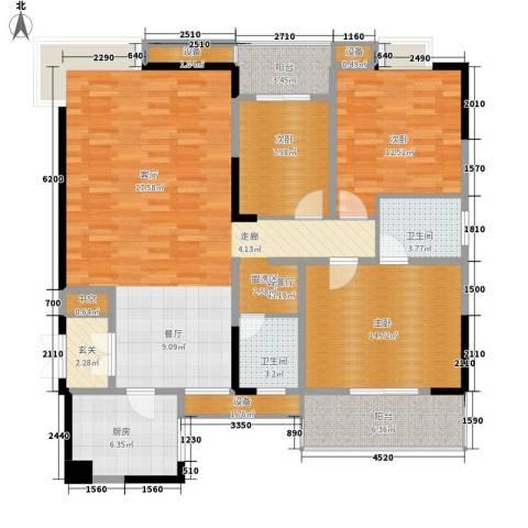 万里江山3室1厅2卫1厨128.00㎡户型图