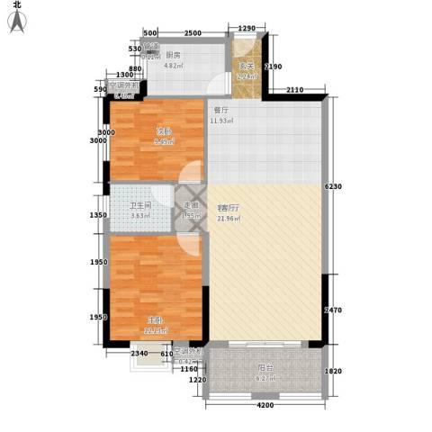星雨心苑2室1厅1卫1厨106.00㎡户型图