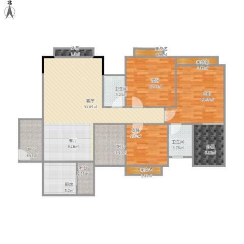 世纪城国际公馆香榭里3室1厅2卫1厨144.00㎡户型图