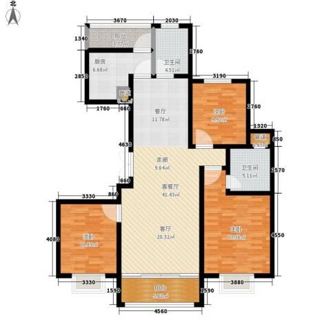澄波湖壹号3室1厅2卫1厨125.00㎡户型图