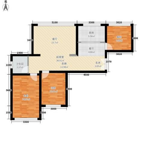 瑞景国际公馆3室0厅1卫1厨106.00㎡户型图