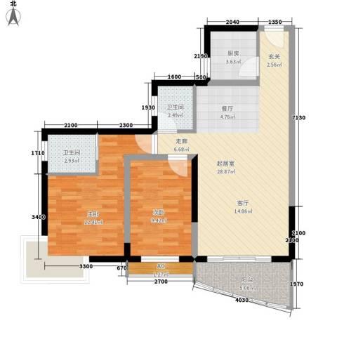 天龙花园2室0厅2卫1厨92.00㎡户型图