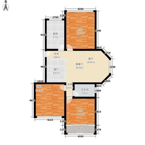 雨花区检察院宿舍3室1厅1卫1厨123.00㎡户型图