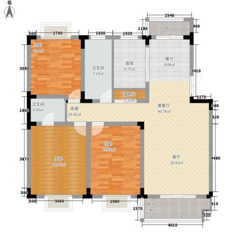 星城名典3室1厅2卫1厨164.00㎡户型图