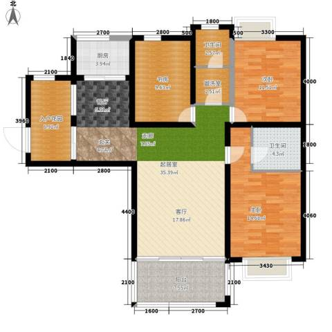 朗郡水木兰亭3室0厅2卫1厨143.00㎡户型图