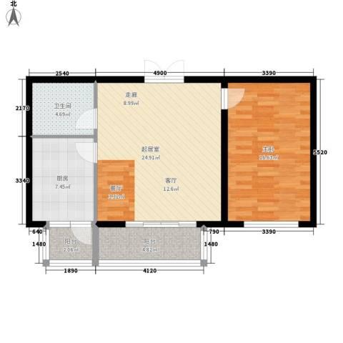 陶然居1室0厅1卫1厨69.00㎡户型图