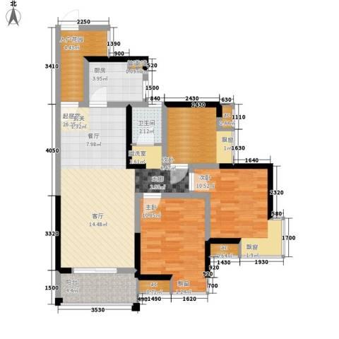 银晟花园3室0厅1卫1厨100.00㎡户型图