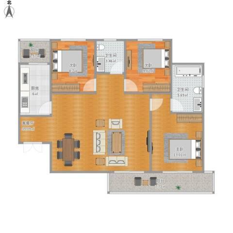 金辉天鹅湾3室1厅2卫1厨123.00㎡户型图