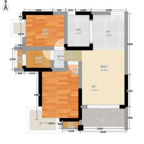 西点公园里2室1厅1卫1厨65.00㎡户型图
