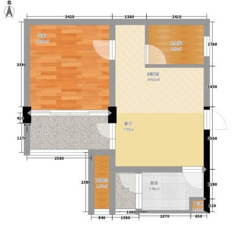 共和世家1室0厅1卫1厨50.00㎡户型图