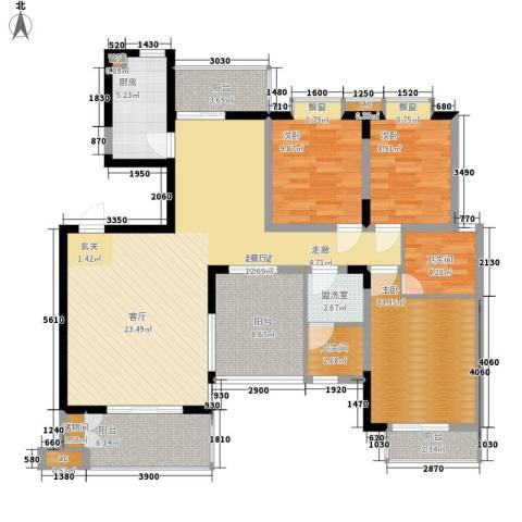 观湖苑3室0厅2卫1厨143.00㎡户型图