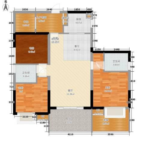 美年广场美岸3室0厅2卫1厨100.00㎡户型图