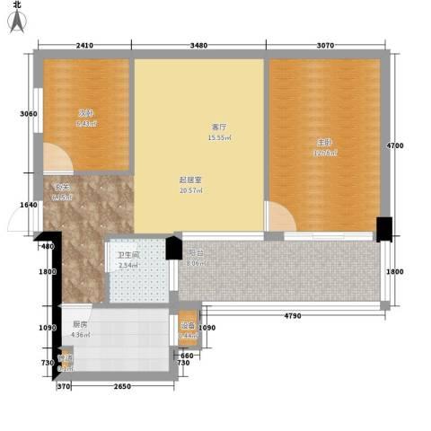 共和世家2室0厅1卫1厨62.00㎡户型图