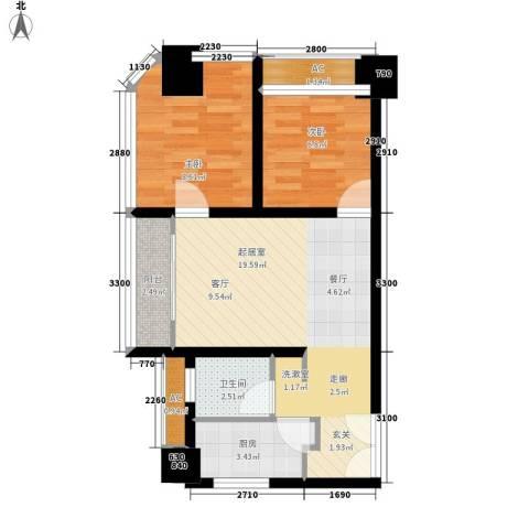 亚商国际2室0厅1卫1厨75.00㎡户型图