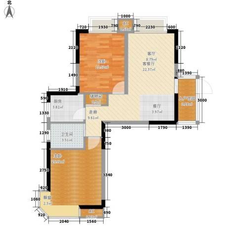 星蓝湾2室1厅1卫1厨89.00㎡户型图