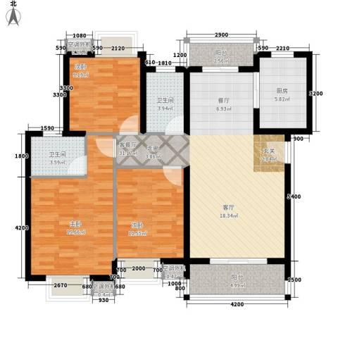 金星小区3室1厅2卫1厨109.00㎡户型图