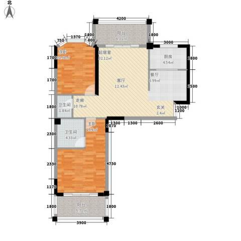 长房西郡2室0厅2卫1厨106.00㎡户型图