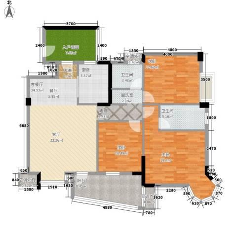 金星小区3室1厅2卫1厨108.99㎡户型图