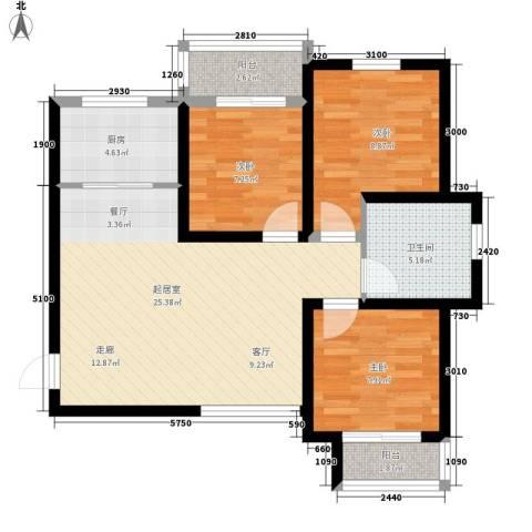 中谋壹品公馆3室0厅1卫1厨93.00㎡户型图